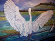 Acryllic  Paintings - Egrets by Ray Khalife
