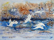 Waterscape Painting Metal Prints - Egrets Metal Print by Zaira Dzhaubaeva