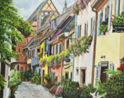 Baskets Painting Posters - Eguisheim In Bloom Poster by Charlotte Blanchard