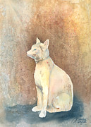 Felines Painting Prints - Egyptian Cat Print by Arline Wagner