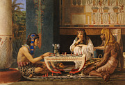 Board Game Metal Prints - Egyptian Chess Players Metal Print by Sir Lawrence Alma-Tadema