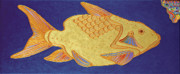 Abstracted Mixed Media Prints - Egyptian Fish Print by Bob Coonts