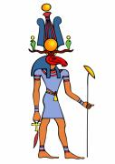 Tourism Drawings Prints - Egyptian God - Khensu Print by Michal Boubin