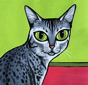 Whiskers Prints - Egyptian Mau Print by Leanne Wilkes