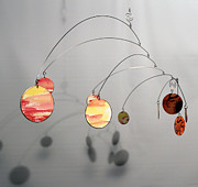 Ceiling Mobile Sculptures - Egyptian Sun Zen Kinetic Mobile Watercolor Sculpture by Carolyn Weir