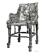 Illustrator Drawings - Egyptian throne by Lee-Ann Adendorff
