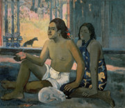 Nude Canvas Paintings - Eiaha Ohipa or Tahitians in a Room by Paul Gauguin