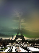 Haze Digital Art Prints - Eiffel Haze Print by Menucha Citron