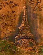 Eiffel Tower Mixed Media Metal Prints - Eiffel Tower - Copper Metal Print by Suzanne Blender
