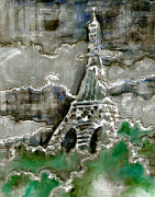 Rainy Day Mixed Media - Eiffel Tower - Silver by Suzanne Blender