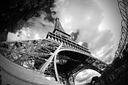 Black And White Paris Posters - Eiffel Tower 1 Poster by Micah May