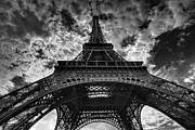 Black And White Paris Metal Prints - Eiffel Tower Metal Print by Allen Parseghian