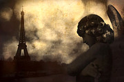 Gothic Dark Photography Photos - Eiffel Tower and Angel  by Kathy Fornal