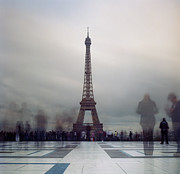 Blurred Motion Framed Prints - Eiffel Tower And Crowds Framed Print by Zeb Andrews