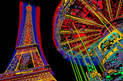 France Mixed Media Framed Prints - Eiffel Tower and merry-go-round in color Framed Print by Hiroki Uchida