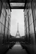 Black And White Paris Metal Prints - Eiffel Tower And Wall For Peace Metal Print by Cyril Couture @