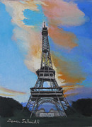 Paris Pastels Posters - Eiffel Tower at Dusk Poster by Dana Schmidt