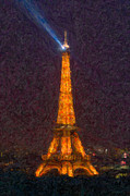 Impasto Photo Posters - Eiffel Tower at Night Impasto Poster by Clarence Holmes