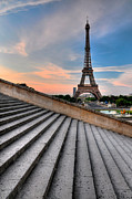 Eiffel Tower Metal Prints - Eiffel Tower At Sunrise, Paris Metal Print by Romain Villa Photographe