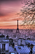Eiffel Tower Metal Prints - Eiffel Tower At Sunset Metal Print by Romain Villa Photographe