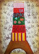 Stripes Mixed Media - Eiffel Tower Birthday Card by Carrie Jackson