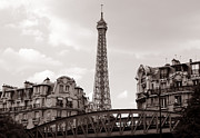 Vintage Eiffel Tower Metal Prints - Eiffel Tower Black and White 3 Metal Print by Andrew Fare