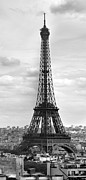Sky Clouds Posters - Eiffel Tower BLACK AND WHITE Poster by Melanie Viola