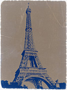 World Cities Digital Art Metal Prints - Eiffel Tower Blue Metal Print by Irina  March