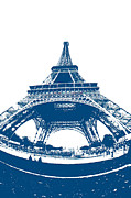 Blueprint Photo Prints - Eiffel Tower Blueprint Print by Micah May