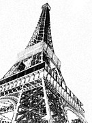 Black And White Paris Mixed Media Posters - Eiffel Tower Charcoal  Poster by Kathy Whitehead