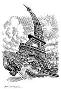 Linocut Prints - Eiffel Tower, Conceptual Artwork Print by Bill Sanderson