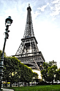 Lamp Post Framed Prints - Eiffel Tower from park  Framed Print by Micah May