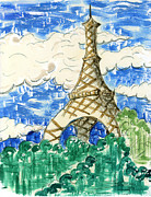 Eiffel Tower Mixed Media Metal Prints - Eiffel Tower I Metal Print by Suzanne Blender