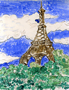 Eiffel Tower Mixed Media Metal Prints - Eiffel Tower II Metal Print by Suzanne Blender