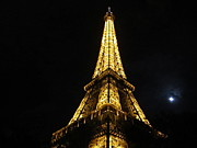 Moonlit Night Photos - Eiffel Tower III Paris France by John A Shiron