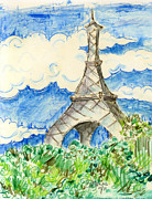 Eiffel Tower Mixed Media Metal Prints - Eiffel Tower III Metal Print by Suzanne Blender