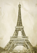 Antique Digital Art Prints - Eiffel Tower Illustration Print by Paul Topp
