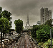 Paris Photo Prints - Eiffel Tower In Clouds Print by Stéphanie Benjamin