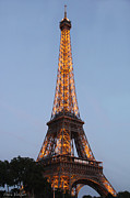Eiffel Tower Lights Print by Debra     Vatalaro