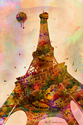 Paris Digital Art Framed Prints - Eiffel tower  Framed Print by Mark Ashkenazi