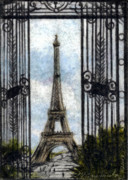 Eiffel Tower Drawings Metal Prints - Eiffel Tower Metal Print by Melissa J Szymanski