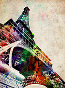 Landmark Digital Art Posters - Eiffel Tower Poster by Michael Tompsett