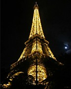 Moonlit Night Photos - Eiffel Tower Moon Paris France by John A Shiron