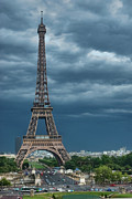 Cloud Photography Posters - Eiffel Tower On A Stromy Weather Poster by Mihaela Muntean
