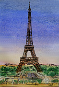 Sketchbook Painting Framed Prints - Eiffel Tower Paris France Framed Print by Irina Sztukowski