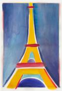 Paris Paintings - Eiffel Tower Paris France Yellow Red and Aqua Blue by Robyn Saunders