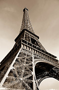 John Williams Posters - Eiffel Tower Sepia Poster by John Williams
