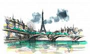 Cities Painting Prints - Eiffel Tower Print by Seventh Son
