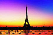 Incidental People Prints - Eiffel Tower Silhouette In Sunrise Print by Audun Bakke Andersen