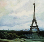Scottie Painting Posters - Eiffel Tower Poster by Stephen Roberson